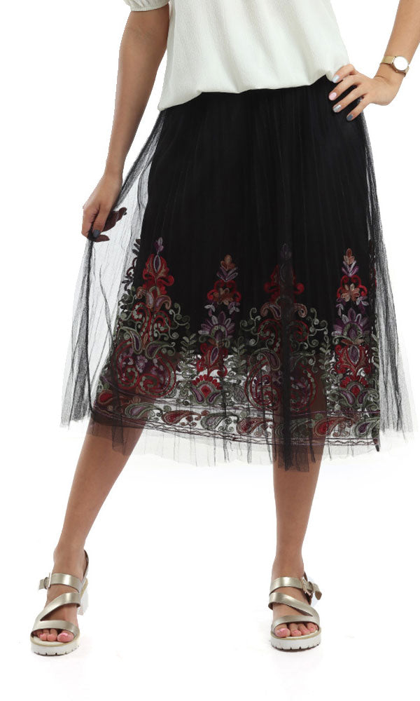 Chanel Pleats Tull Skirt-Chinese Embroidery-Elasic Waist