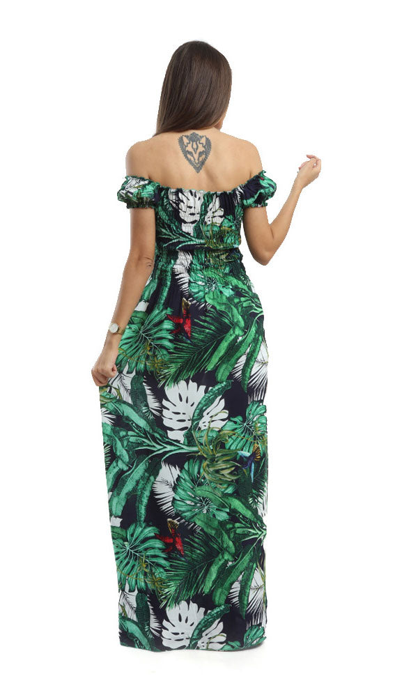 Long Line Elastic Top Dress-Tropical Pattern Prints-Short Sleeves-Deep Round Neck