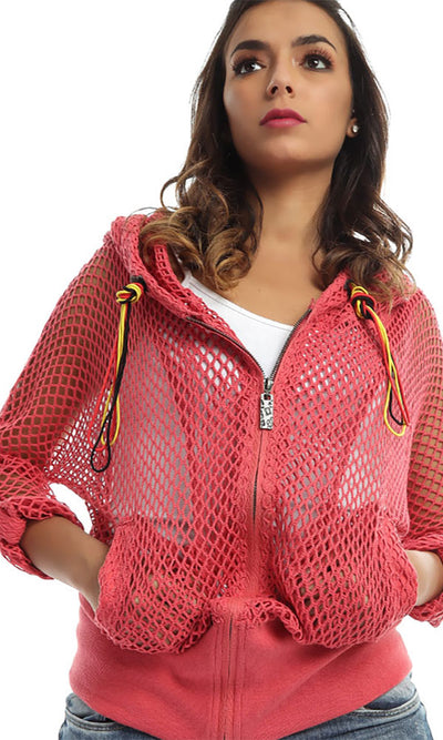48509 Perforated Zipped Casual Jacket - Watermelon