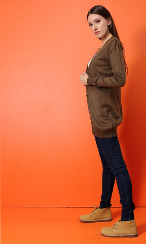 48520 Solid Buttoned Long Sleeves Basic Cardigan - Golden Brown