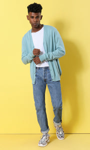 48521 Plain Hemed Pale Blue Basic Cardigan