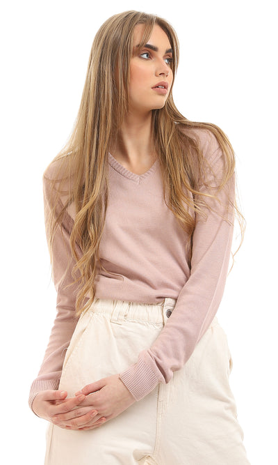 48526 V-Neck Soft Hemed  Nude Basic Sweater