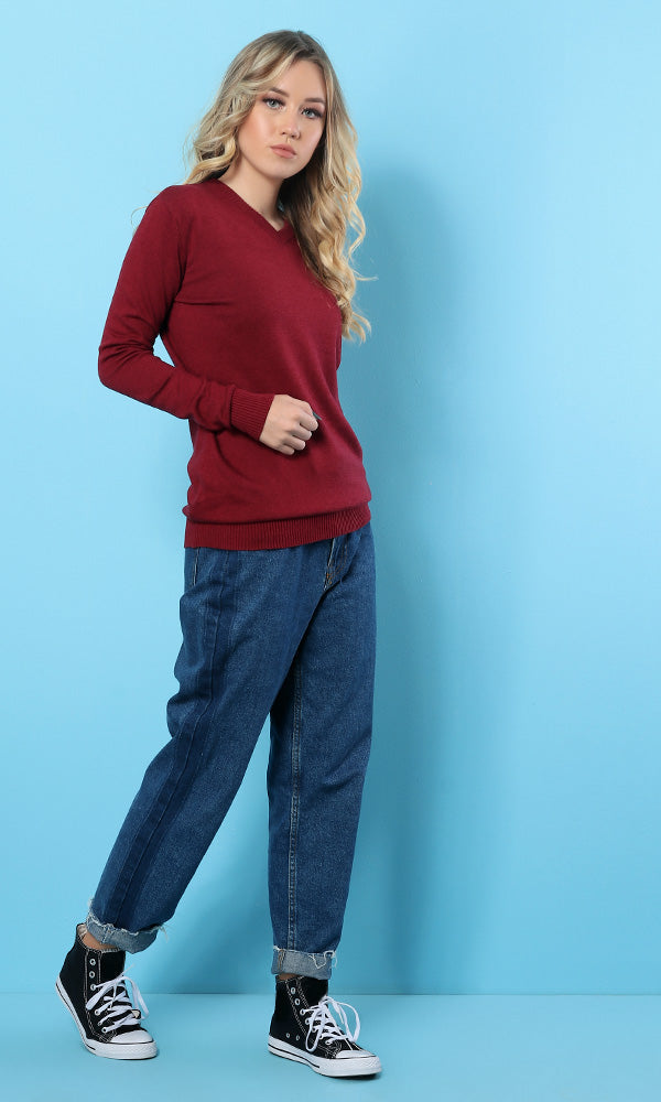 48528 V-Neck Full Sleeves Burgundy Basic Sweater