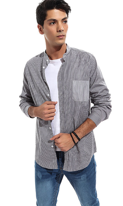 48530 Checkered Long Buttoned Men Shirt - Dark Grey & White