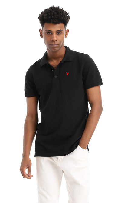 48584 Basic Turn Down Collar Black Pique Polo Shirt