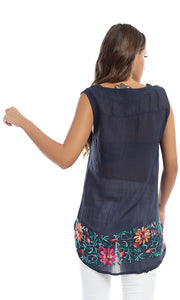 48635 Dazzling Floral Hem Navy Blue Transparent Top