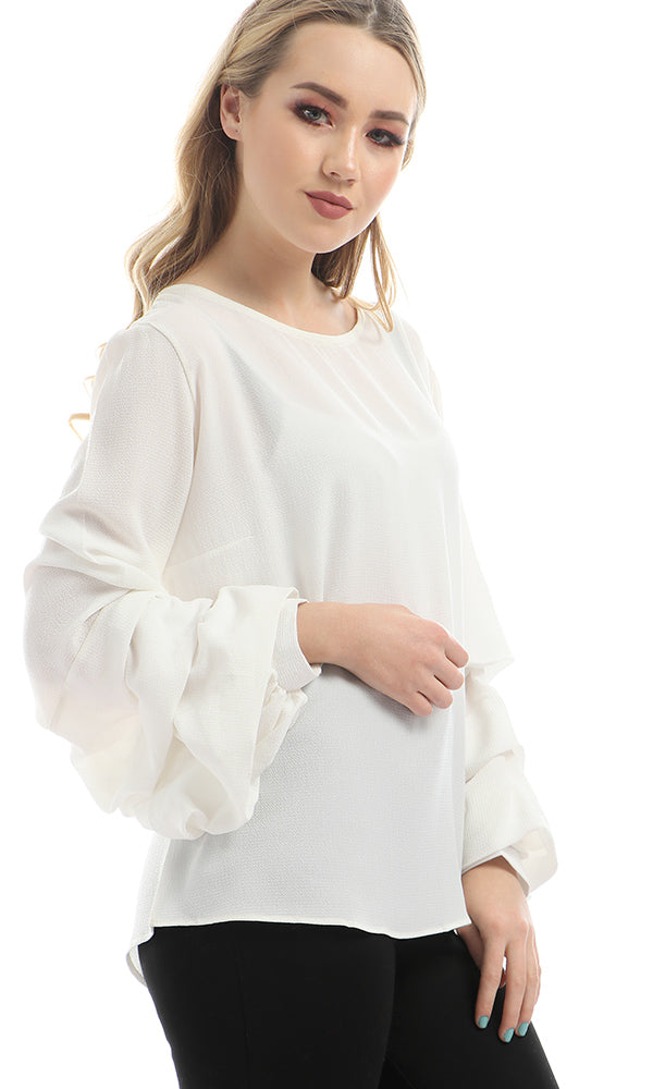 Drape Sleeves Solid Blouse - White