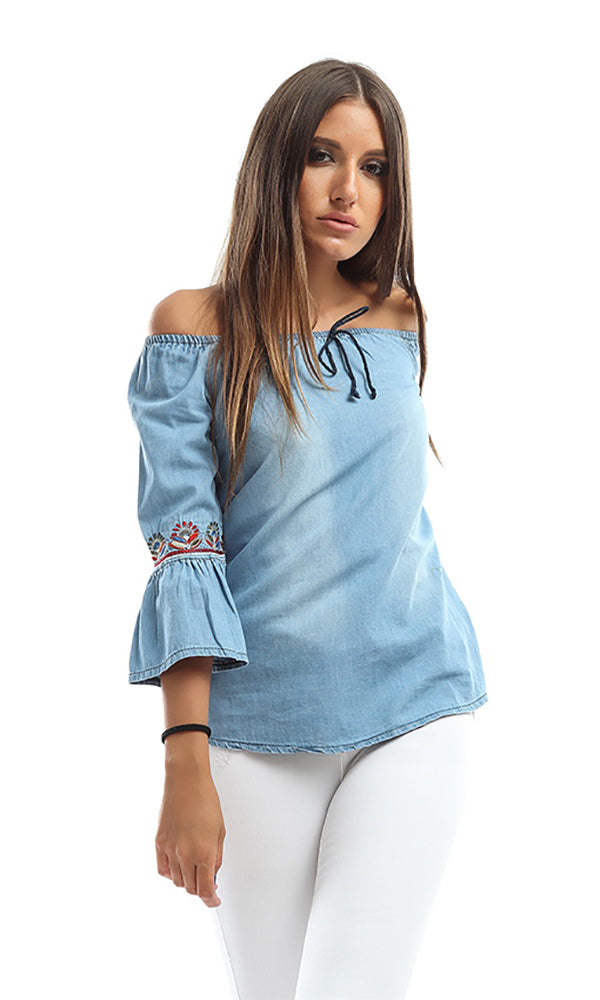 Women Long Sleeve Shirt - Blue