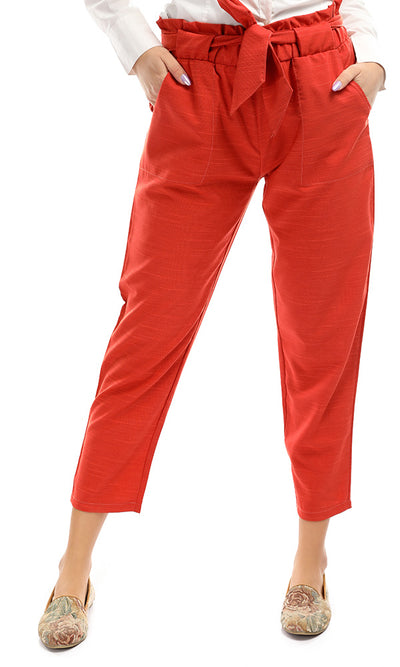 48742 Tied Bow Orange Regular Casual Pants