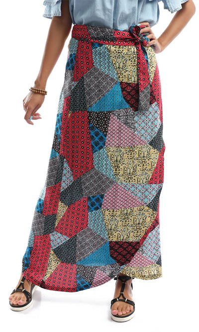 48743 Exotic Multicolour Tropical Wrapped Up Skirt