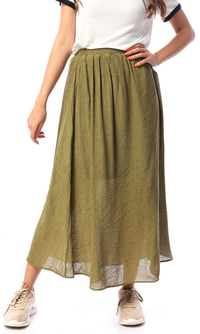 48745 Guide Me Home Blush Olive Maxi Skirt