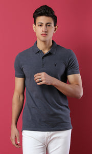 48746 Basic Buttoned Pique Polo Shirt - Heather Navy Blue