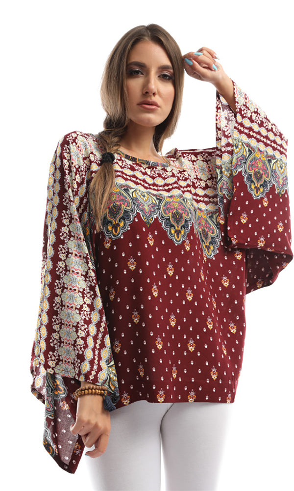 Maroon Tropical Print Loose Fit Blouse