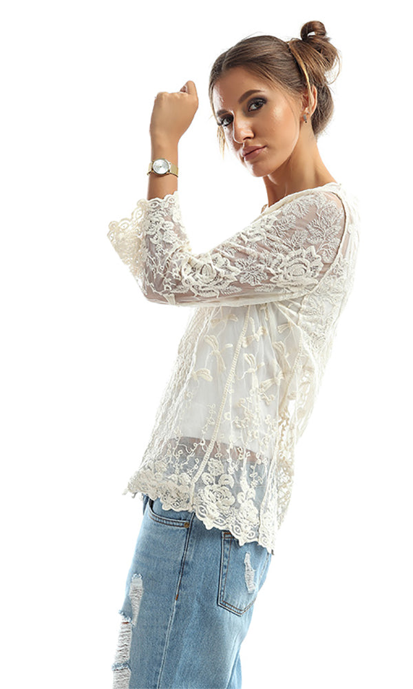 Translucent Long Sleeves Shirt - Off White