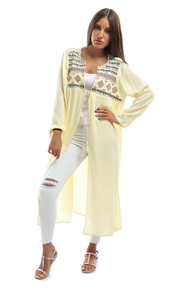 Embossed Cardigan - Light Yellow