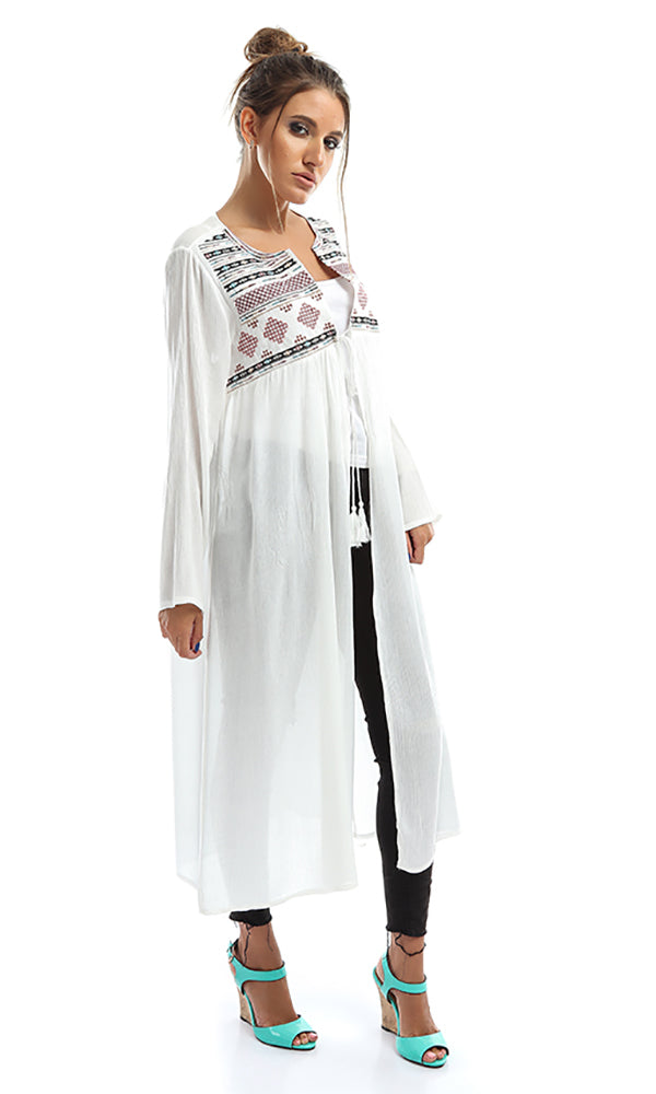 Embroidered Longline Cardigan
