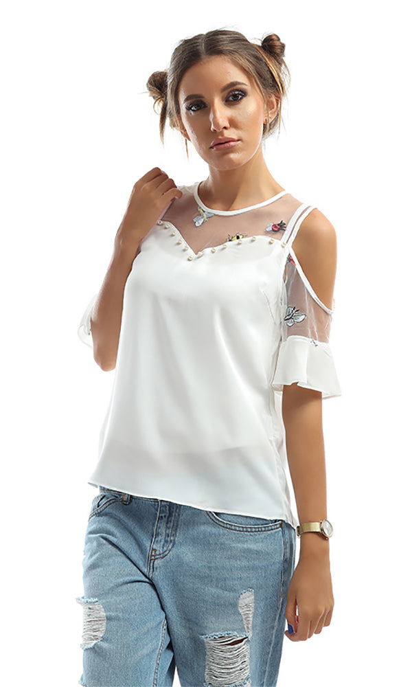 Mixed Fabric Cut-Out Shoulder Top