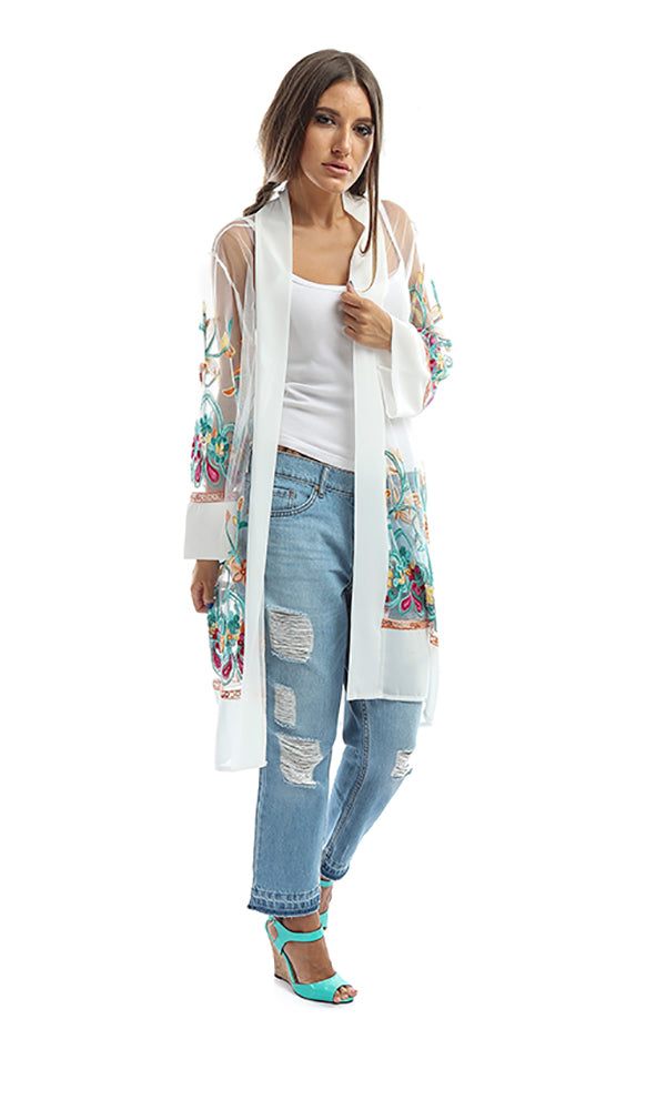 Embroidered Tulle Long Cardigan