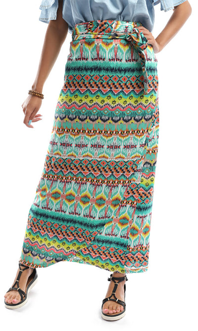 48797 Exotic Multicolour Tropical Wrapped Up Skirt