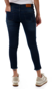 48823 Distressed Fringes Trim Skinny Dark Blue Jeans