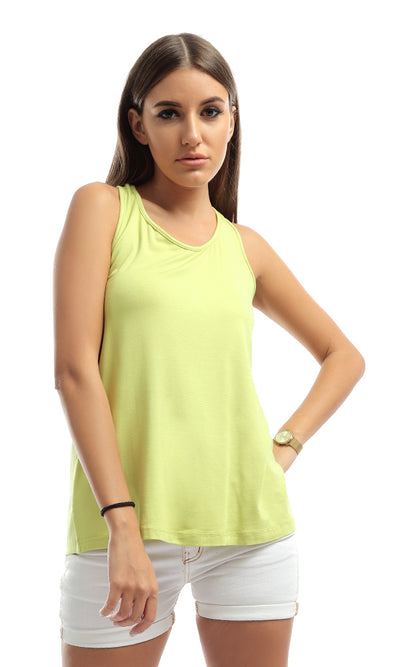 48831 Back Bow Sleeveless Lemon Top