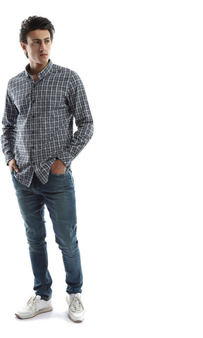 48838 Checkered Men Long Sleeves Shirt - Grey