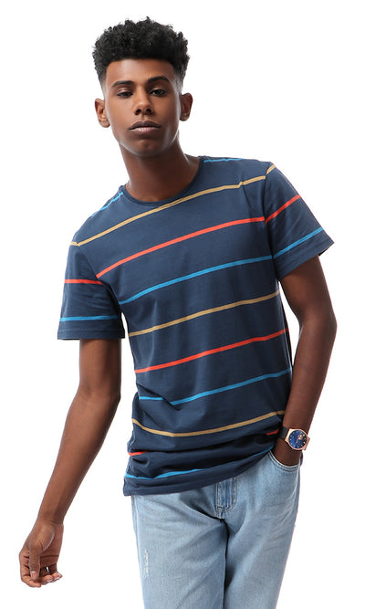 Colorful Striped Navy Blue Short Sleeves T-shirt