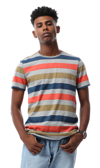 Awning Stripes Round Neck Multicolour T-shirt