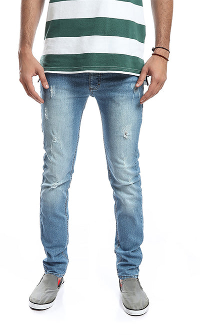 48860 Slim Fit Ripped Jeans - Light Blue