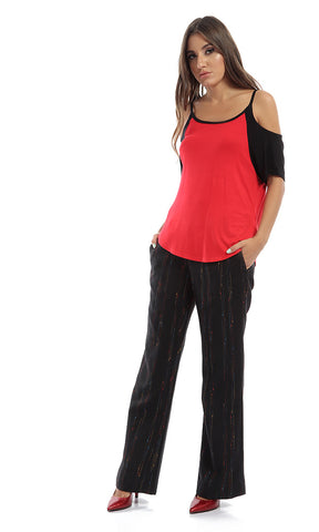Plain Soft Off Shoulder Women Tee - Red