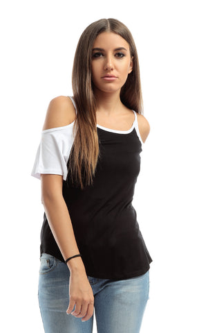 Cute Black & White Cold-The-Shoulder Tee