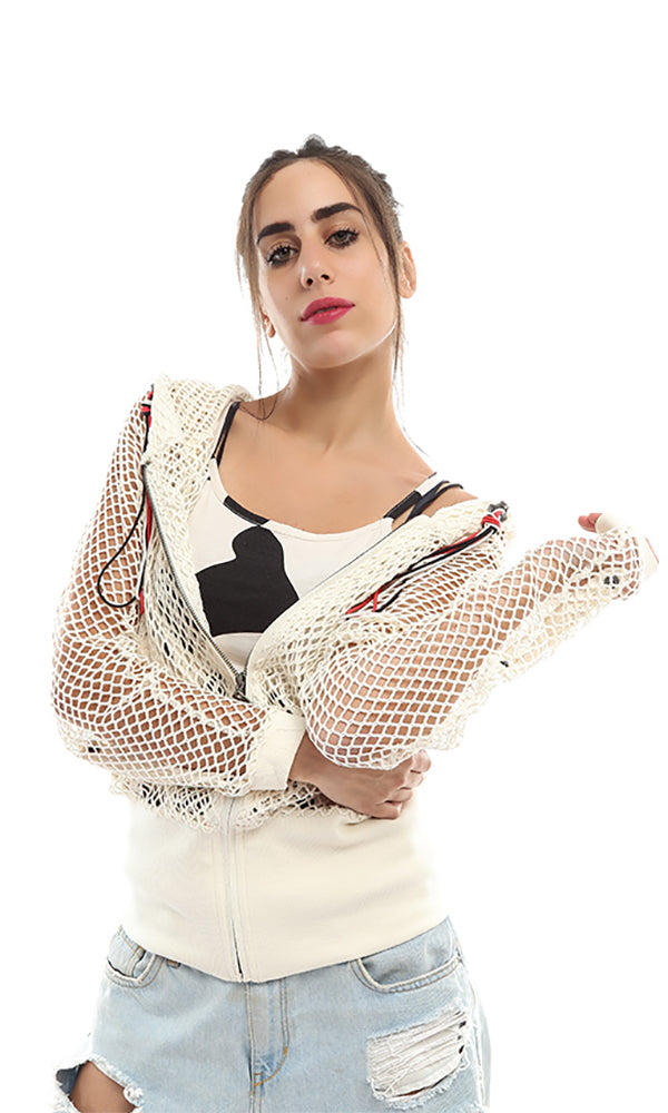 Set Of Perforated Jacket & Printed Tank Top - Off White
