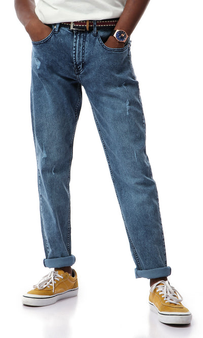 48888 Scratched Staright Washed Blue Jeans