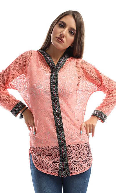 48889 Textured Watermelon Patterned Hooded Blouse