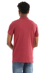 48899 Basic Heather Burgundy Pique Polo Shirt