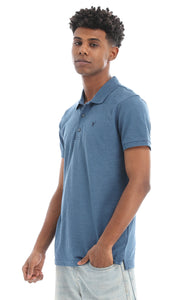 48901 Turn Down Short Sleeves Basic Pique Polo Shirt - Steel Blue