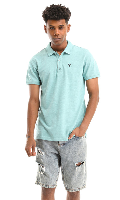 48902 Basic Heather Aquamarine Short Sleeves Polo Shirt
