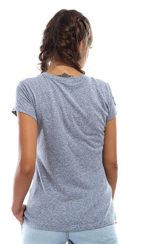 Women Printed Short Sleeves Top - Light Blue