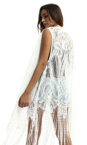 48940 Lace Women Cardigan - White