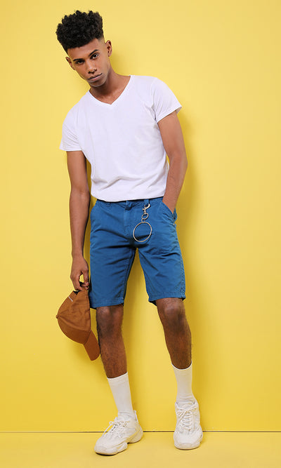 48949 Plain Men Basic Shorts - Medium Blue
