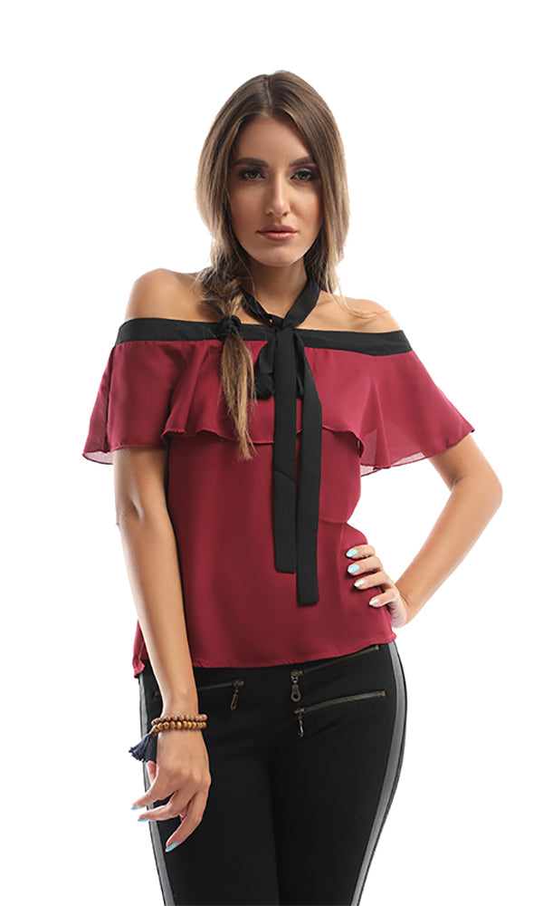 Tie- Front Magenta Ruffled Off Shoulder Blouse