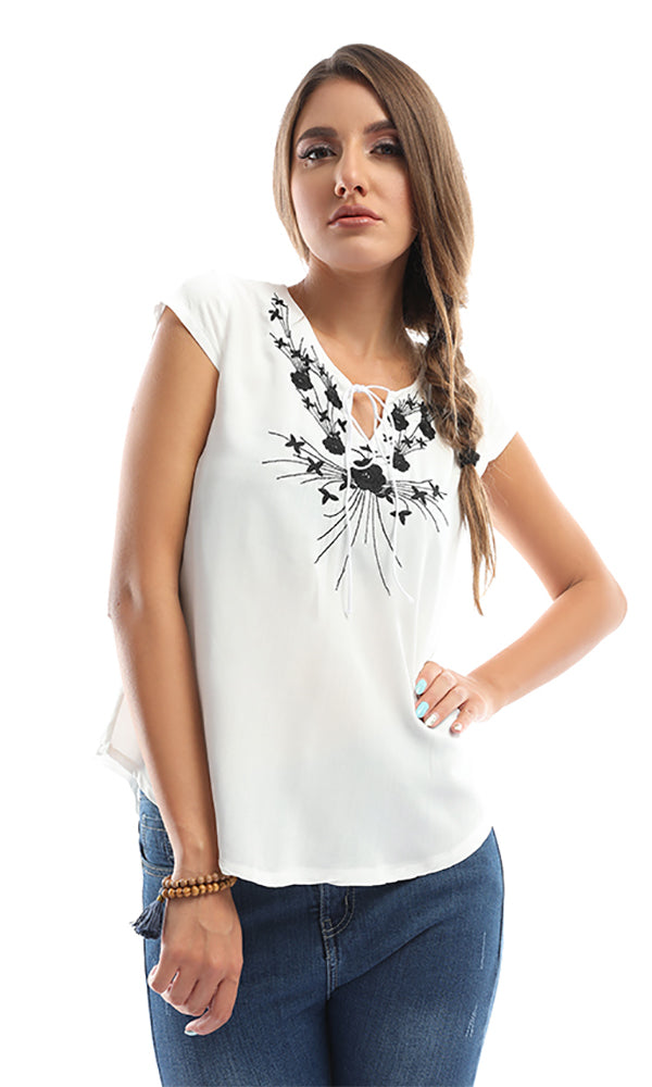 Simple Embroidered White Tie-Front Top