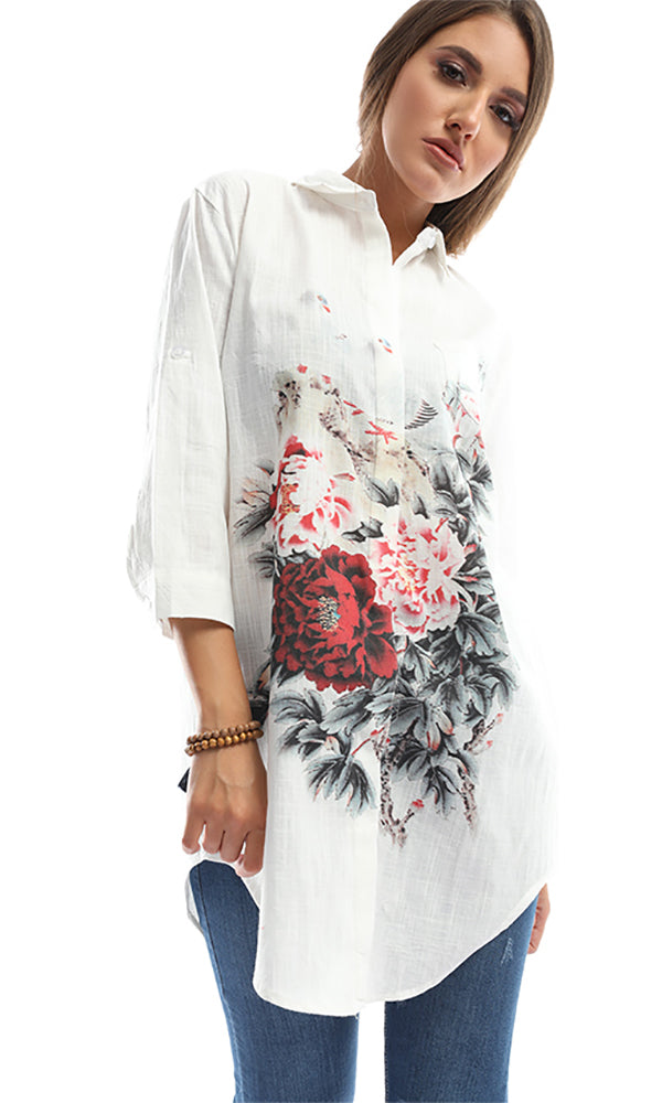 Embroidered Long Sleeves White Perfect Shirt