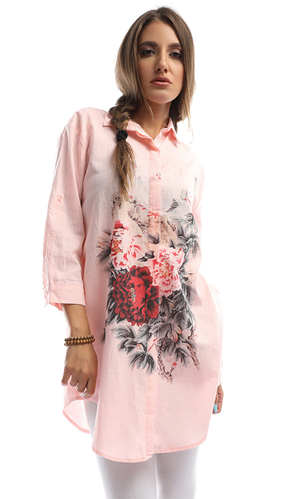 Embroidered Long Sleeves LIght Pink Perfect Shirt