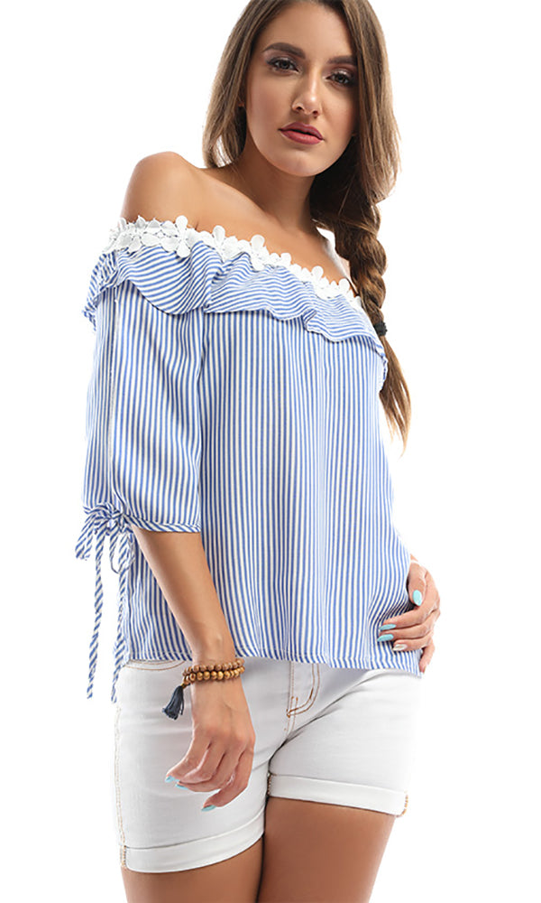 Embroidered Collar Off Shoulder Striped Top - Light Blue & White
