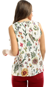 48979 Sleeveless Floral Cute Colourfull Top