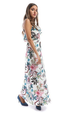 48981 Air Of Romance Turquoise Floral Print Maxi Dress