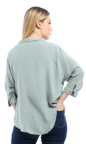 Fluffy 3/4 Sleeves Turn Down Collar Hi-Low Pale Dark Mint Green Top