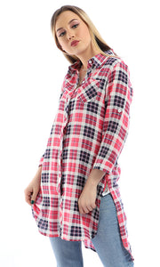 Plaids Hi-Low Long Sleeves Buttoned Long Shirt - Coral