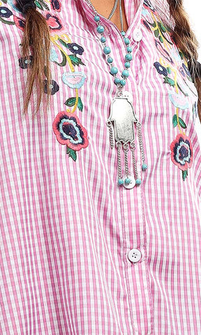48992 Checkered Floral Tunic Shirt - Pink & White